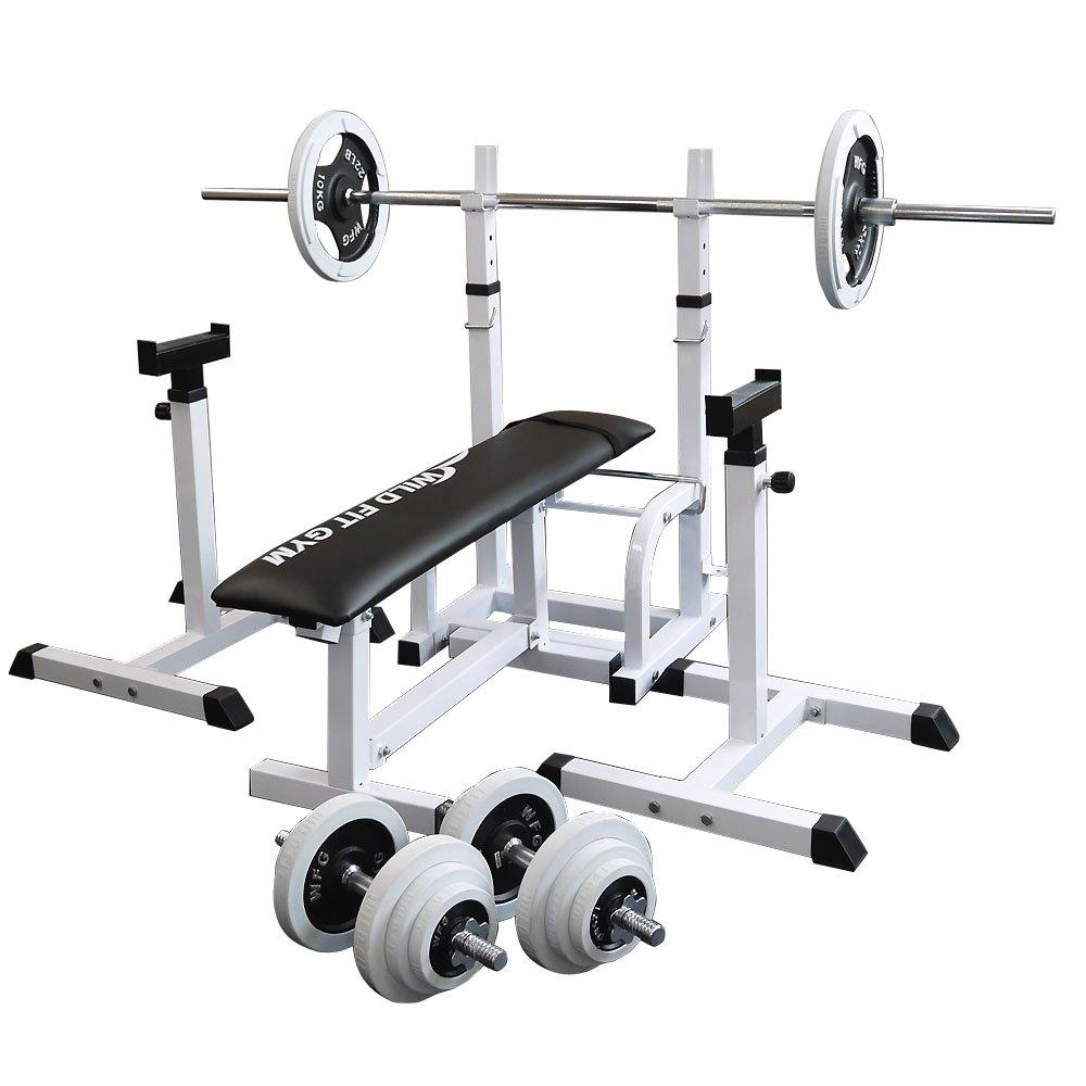 フォールディングジムセット 白ラバー70kg[Slim Fit スリムフィット] 送料無料 バーベル ダンベル ベンチプレス トレーニング器具 大胸筋 腹筋 上腕筋