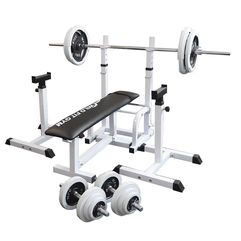 フォールディングジムセット 白ラバー100kg[Slim Fit スリムフィット] 送料無料 バーベル ダンベル ベンチプレス トレーニング器具 大胸筋 腹筋 上腕筋