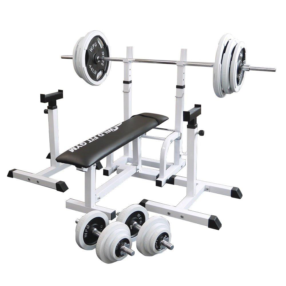 フォールディングジムセット 白ラバー140kg[Slim Fit スリムフィット] 送料無料 バーベル ダンベル ベンチプレス トレーニング ウエイト プレート 大胸筋 腹筋 上腕筋