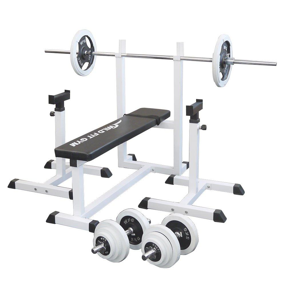 [スクワットパッド付]トレーニングジムセット 白ラバー70kg[WILD FIT ワイルドフィット] 送料無料 バーベル ダンベル ベンチプレス トレーニング器具 自宅 大胸筋 腹筋 上腕筋