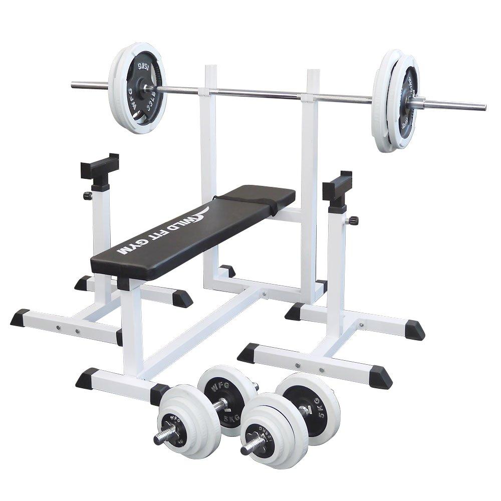 [スクワットパッド付]トレーニングジムセット 白ラバー100kg[WILD FIT ワイルドフィット] 送料無料 バーベル ダンベル ベンチプレス トレーニング器具 自宅 大胸筋 腹筋 上腕筋