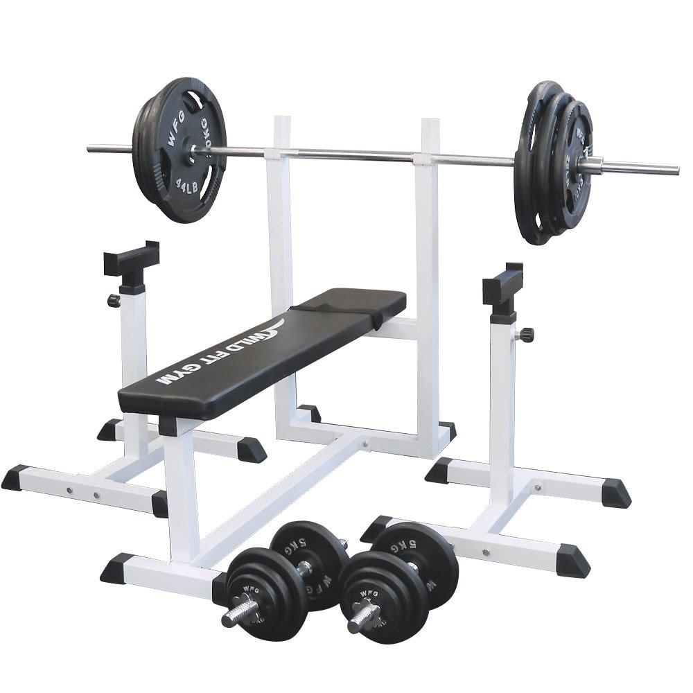 [スクワットパッド付]トレーニングジムセット アイアン140kg[WILD FIT ワイルドフィット] 送料無料 バーベル ダンベル ベンチプレス トレーニング器具 自宅 大胸筋 腹筋 上腕筋