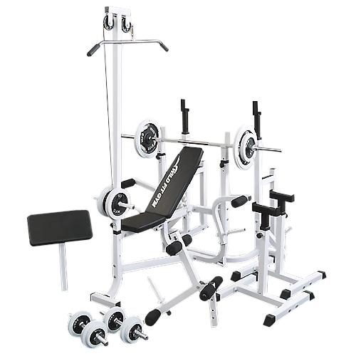マルチフルセット 白ラバー70kg[Slim Fit スリムフィット] 送料無料 バーベル ベンチプレス トレーニングマシン 自宅 マルチベンチ スクワット 大胸筋 腹筋