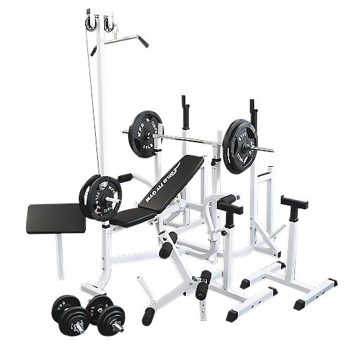 マルチフルセット アイアン140kg[Slim Fit スリムフィット] 送料無料 バーベル ベンチプレス トレーニング器具 マルチベンチ スクワット 大胸筋 腹筋