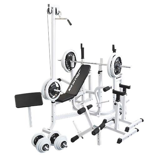 マルチフルセット 白ラバー140kg[Slim Fit スリムフィット] 送料無料 バーベル ベンチプレス トレーニング器具 マルチベンチ スクワット 大胸筋 腹筋