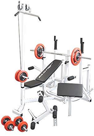 マルチトレーニングジムセット 赤ラバー70kg[Slim Fit Gym スリムフィット]送料無料 バーベル ベンチプレス トレーニングマシン 自宅 スクワット 大胸筋 腹筋