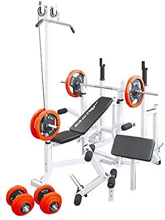 マルチトレーニングジムセット 赤ラバー100kg[Slim Fit Gym スリムフィット]送料無料 バーベル ベンチプレス トレーニングマシン 自宅 スクワット 大胸筋 腹筋