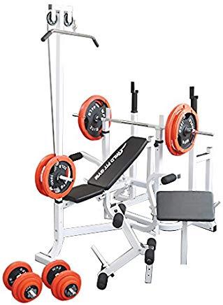 《一部後送りあり》マルチトレーニングジムセット 赤ラバー140kg[Slim Fit Gym スリムフィット] 送料無料 バーベル ベンチプレス トレーニングマシン 自宅 スクワット 大胸筋 腹筋