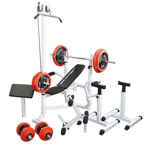 マルチセーフティージムセット 赤ラバー140kg [WILD FIT ワイルドフィット] 送料無料 バーベル ベンチプレス トレーニング器具 スクワット 大胸筋 腹筋