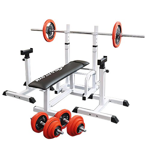 フォールディングジムセット 赤ラバー70kg[Slim Fit スリムフィット] 送料無料 バーベル ダンベル ベンチプレス トレーニング ウエイト プレート 大胸筋 腹筋 上腕筋