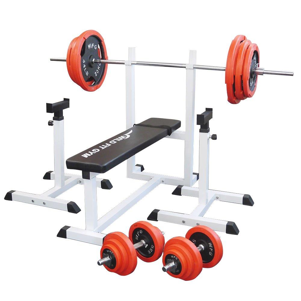 [スクワットパッド付]トレーニングジムセット 赤ラバー140kg[WILD FIT スリムフィット] 送料無料 バーベル ダンベル ベンチプレス トレーニング器具 自宅 大胸筋 腹筋 上腕筋