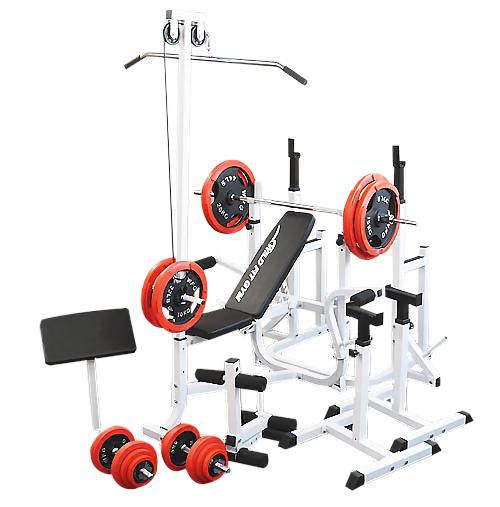 マルチフルセット 赤ラバー140kg[WILD FIT ワイルドフィット] 送料無料 バーベル ベンチプレス トレーニング器具 マルチベンチ スクワット 大胸筋 腹筋
