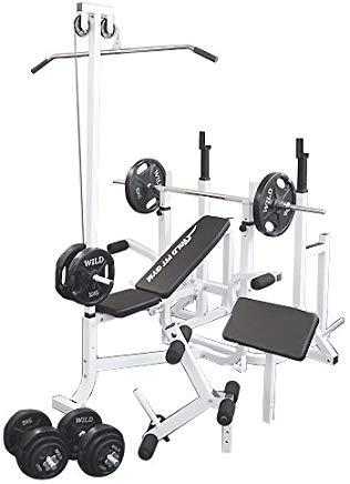 マルチトレーニングジムセット 黒ラバー100kg[WILD FIT ワイルドフィット] 送料無料 バーベル ベンチプレス トレーニングマシン 自宅 スクワット 大胸筋 腹筋