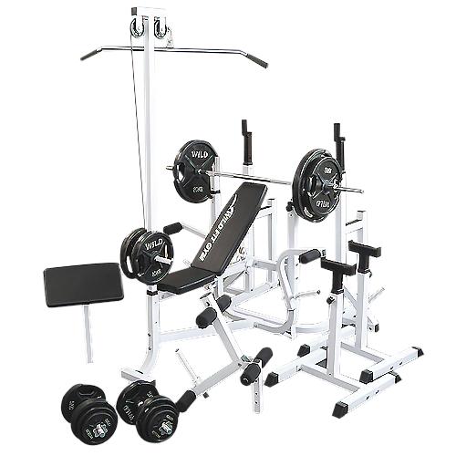 マルチフルセット 黒ラバー140kg[Slim Fit スリムフィット] 送料無料 バーベル ベンチプレス トレーニング器具 自宅 マルチベンチ スクワット 大胸筋 腹筋