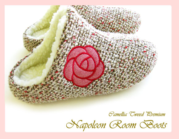 Thanks to you, I was sold out! Slippers gallery original ♪ camellia motif boa Napoleon slippers warmth worth tweed room boots