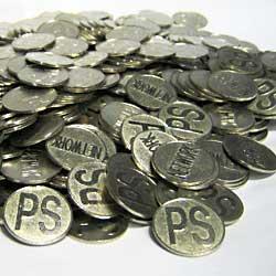 パチスロ 実機|メダル5,000枚 サイズ25φ お買い得セット|統一柄/洗浄済みコイン【中古】