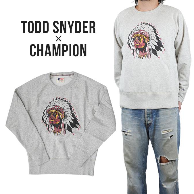【割引クーポン配布中】 TODD SNYDER(トッドスナイダー)×CHAMPION(チャンピオン) Indian Head Sweatshirt クルースウェット トレーナー