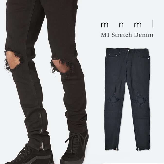 【割引クーポン配布中】 mnml / ミニマル M1 Stretch Denim Black M1デニム ジーンズ デニムパンツ ストレッチ ダメージ加工 スリム テーパード スキニー 裾ジップ メンズ