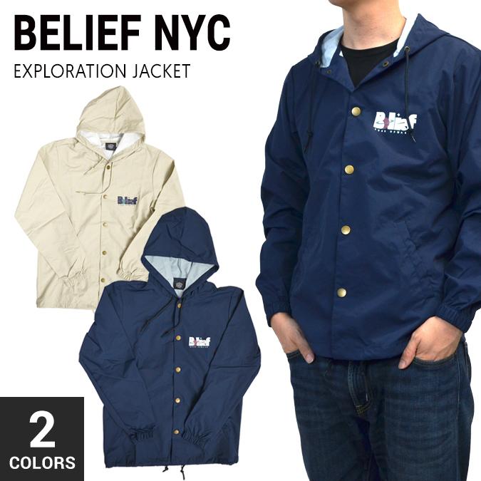 【割引クーポン配布中】 BELIEF NYC(ビリーフ) EXPLORATION JACKET フード付き コーチジャケット ナイロンジャケット