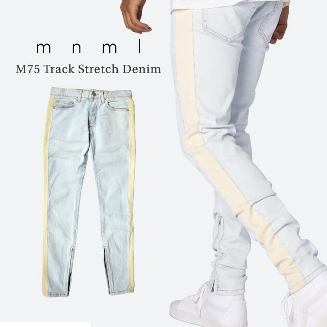 【割引クーポン配布中】 mnml / ミニマル M75 Track Stretch Denim Blue M75デニム ジーンズ デニムパンツ ストレッチ ラインデニム スリム テーパード スキニー 裾ジップ メンズ