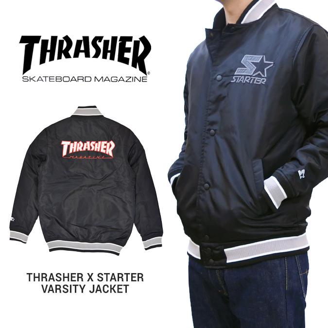 【割引クーポン配布中】 THRASHER × STARTER BLACK LABEL スラッシャー × スターター VARSITY JACKET バーシティジャケット スタジアムジャケット スタジャン ナイロンジャケット ブルゾン メンズ ストリート スケート アウター