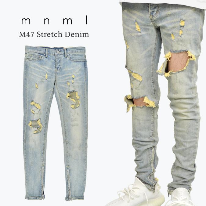 【割引クーポン配布中】 mnml ミニマル M47 Stretch Denim M47デニム ジーンズ デニムパンツ ストレッチ ダメージ加工 スリム スキニー 裾ジップ メンズ