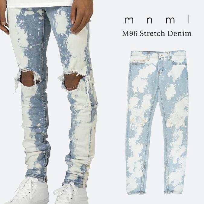【割引クーポン配布中】 mnml ミニマル M96 Stretch Denim M96デニム ジーンズ デニムパンツ ストレッチ ダメージ加工 スリム スキニー 裾ジップ メンズ