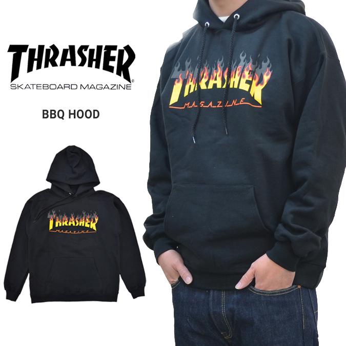 【割引クーポン配布中】 THRASHER スラッシャー BBQ HOOD プルオーバー パーカー スウェット フリース フレイムロゴ SWEAT 黒/ブラック S-XL ストリート メンズ