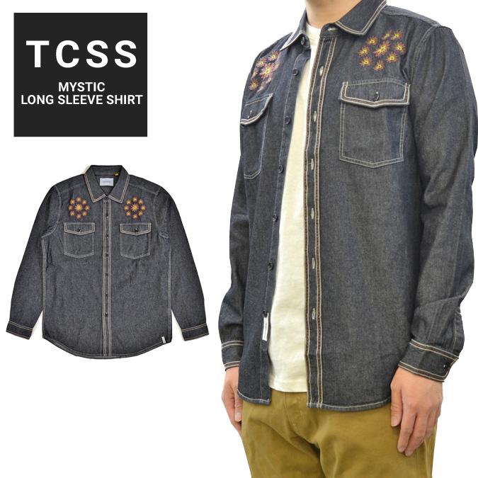 【割引クーポン配布中】 TCSS ティーシーエスエス シャツ MYSTIC L/S SHIRT シャンブレーシャツ デニムシャツ ワークシャツ 長袖 メンズ S-XL ブラック LS1827