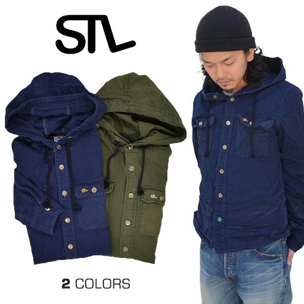 【割引クーポン配布中】 【STL】 VTG・ARMY L/SH HOOD ヴィンテージアーミーシャツフード ミリタリーシャツ MADE IN JAPAN