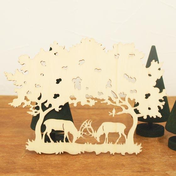 Christmas Ornament Wooden Tree Decoration Art Object Germany Finkbeiner フィンクバイナー Wooden Ornament Fighting Deer
