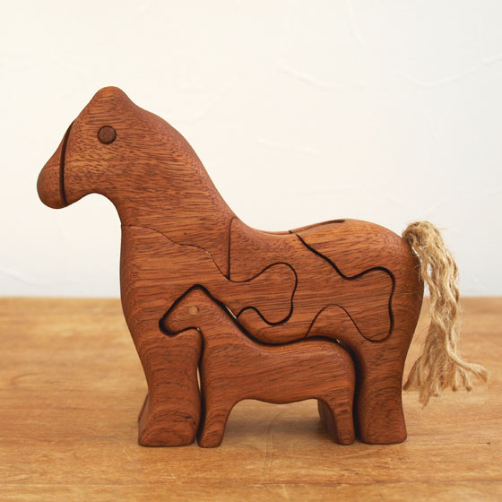 Parent and child of the eco-Wood 3D puzzle horse made in art object wooden  puzzle ornament fashion toy cognitive education toy North European modern