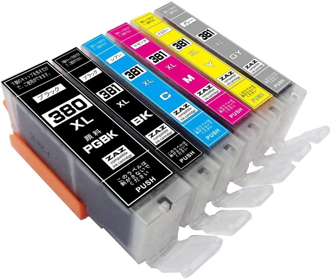 送料無料 CANON キヤノン キャノン 6色セット 6色マルチパック 増量版 送料込 ink-120 BCI-381XL+380XL 6MP 互換インク 6色 返品交換不可 BCI-381XL 1年保証付 GY 380XLPGBK 残量表示可能 Y BK XL大容量タイプ BCI-381 BCI-380 M + C ICチップ付