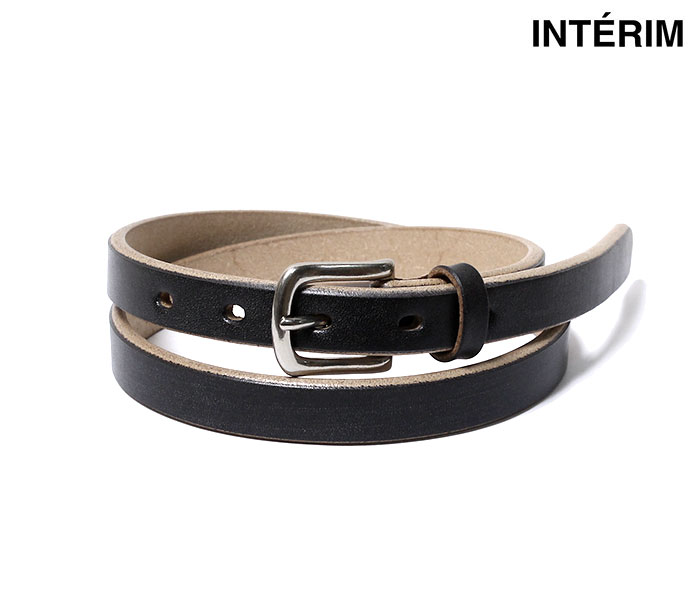 インテリム INTERIM ベルト ブラック オークバークレザー 20mm TIGHT BLACK OAK BARK LEATHER BELT MADE IN JAPAN (INTRM-OAK-BELT-BLK-20)