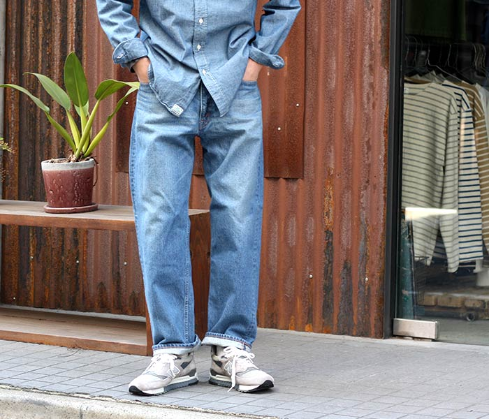 或低下(或扔掉)/orSlow日本制造''2 YEAR WASH''dazzudenimu DAD'S DENIM牛仔裤粗斜纹布(01-1010-84)