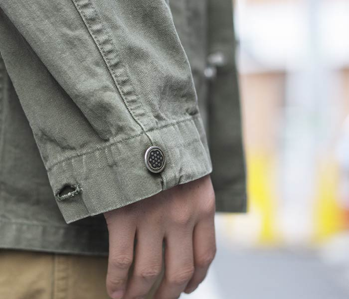 reservation product (going to send it about September ...) orSlow made in Japan '' GREEN USED'' herringbone U.S.ARMY M-43 military jacket (01-6044-HBT216)