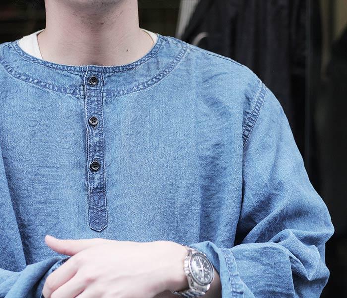 或低下(或扔掉)/orSlow日本制造''靛蓝''男女两用套衫衬衫(03-8044-01)
