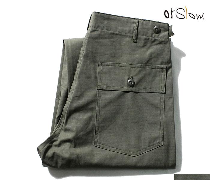 ご予約商品(お届け予定 1月以降) orSlow オアスロウ ファティーグパンツ リップストップ アーミーグリーン 5002 ベイカーパンツ レギュラーフィット US ARMY FATIGUE PANTS Button Fly MADE IN JAPAN (01-5002-76)