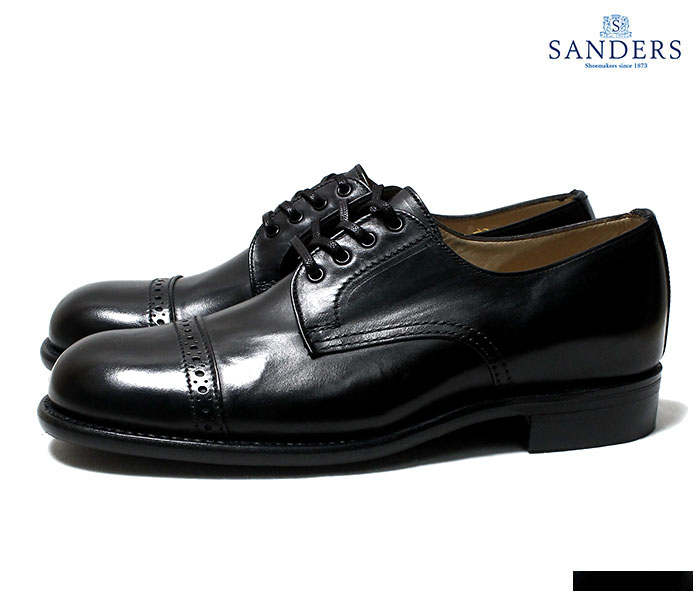 55d9aad1907a0 SANDERS B.G.S. COLLECTION 1944 PUNCHED CAP DERBY SHOES MADE IN ENGLAND  (1944-BLACK)
