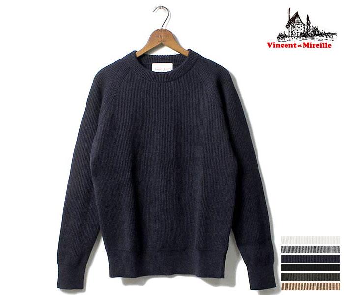 ヴァンソンミレイユ/VINCENT ET MIREILLE 日本製 クルーネック セーター ニット (VINCENT-CREW-KNIT(VM182WA13011))