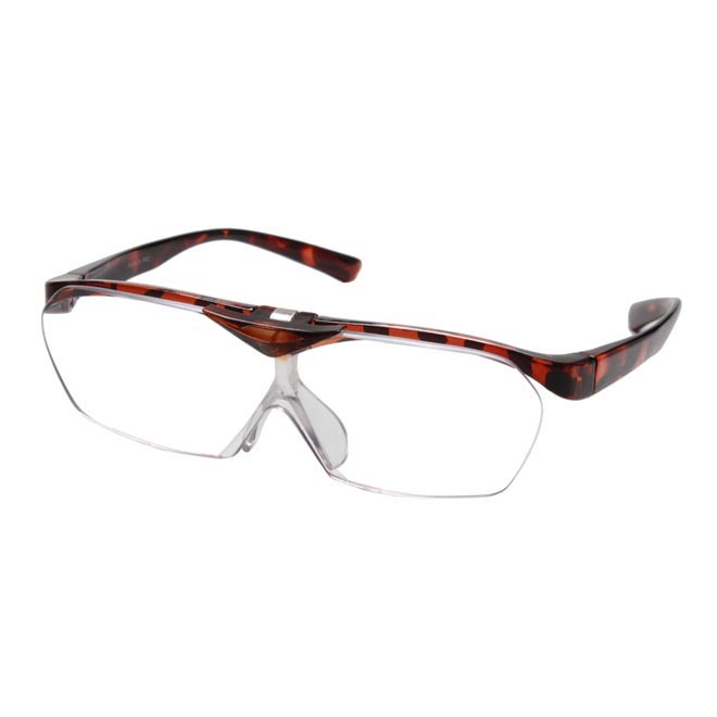 ルーペ メガネ 眼鏡型 拡大鏡 見やすい 大きく はっきり 見える ブラウン べっ甲 オーバーグラス 跳ね上げ se-103-3pcs クリスマスプレゼント ☆