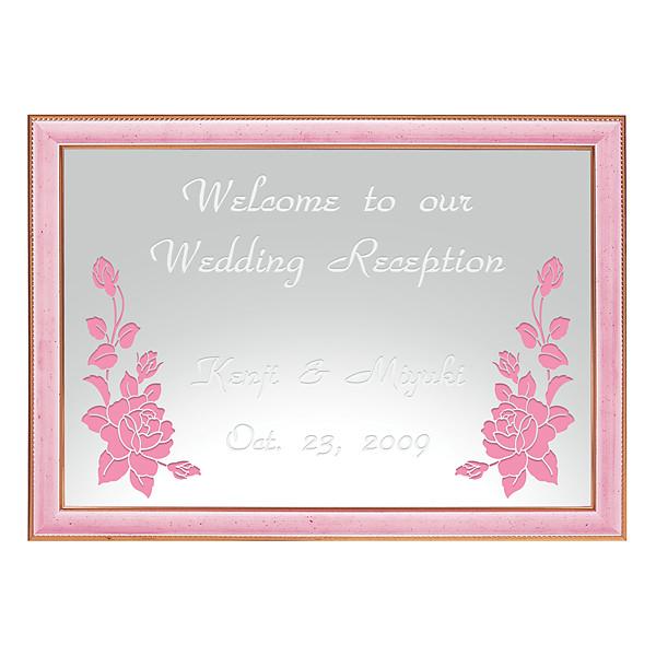 ミラーウェルカムボード A3ライトピンク ピンク 爆買いセール 送料無料 超人気 壁掛けミラー 名入れ