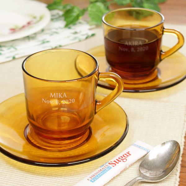 【送料無料】【名入れ】コーヒーカップ&ソーサー ペア 名入れコーヒーカップ