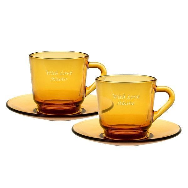 【送料無料】コーヒーカップ&ソーサー ペア 名入れコーヒーカップ【ラッキーシール対応】