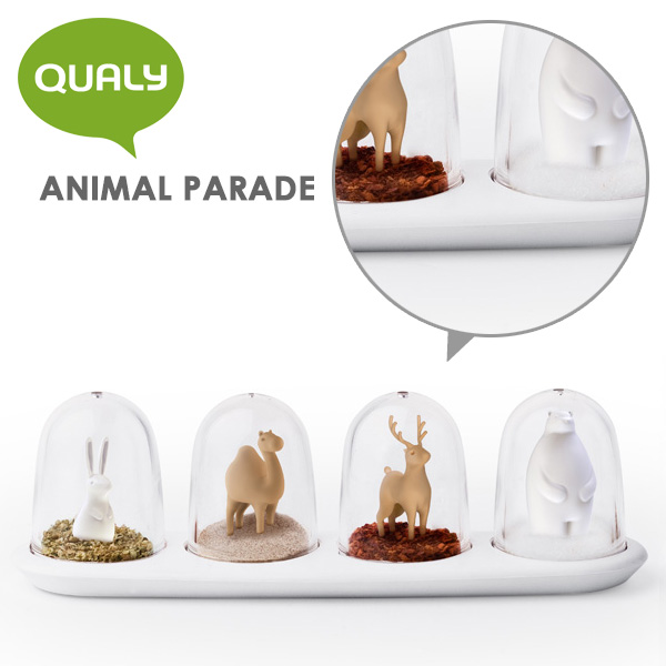 QUALY ANIMAL PARADE seasoning shaker (4 piece set) / クオーリー fs3gm