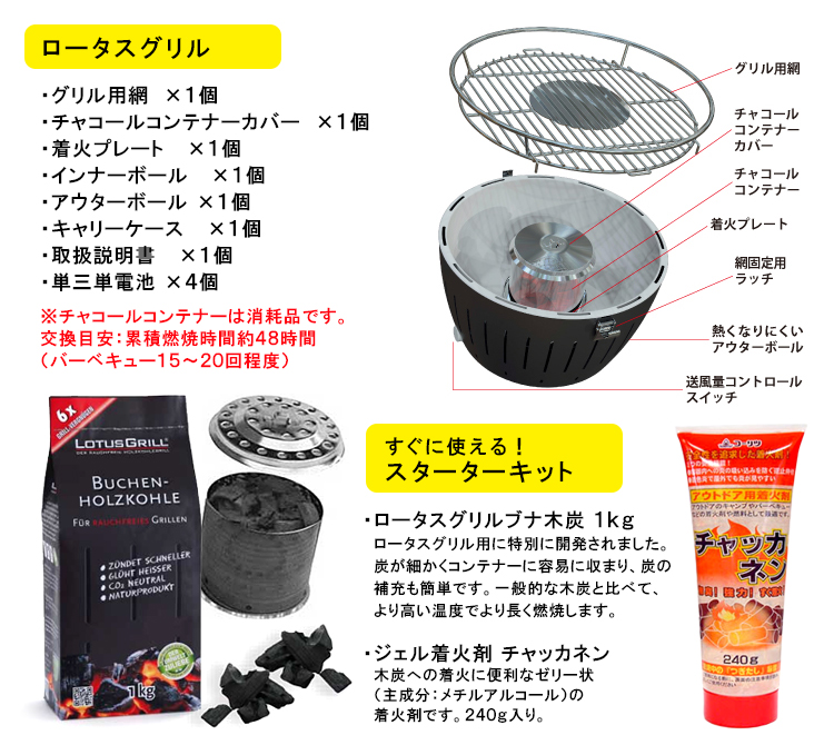 Lotus Grill anthracite coal fire barbecue firelighters and private coal set