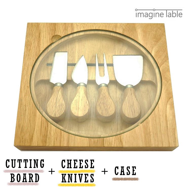 4 ImagineTable 伍迪奶酪刀设置木材案 & 表与玻璃董事会/想象