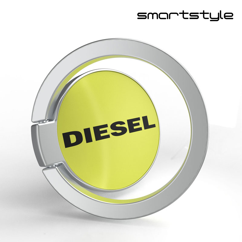 スマホリング 人気 ブランド デザイン ロゴ DIESEL ディーゼル スマホリング 携帯リング ブラック/ライム