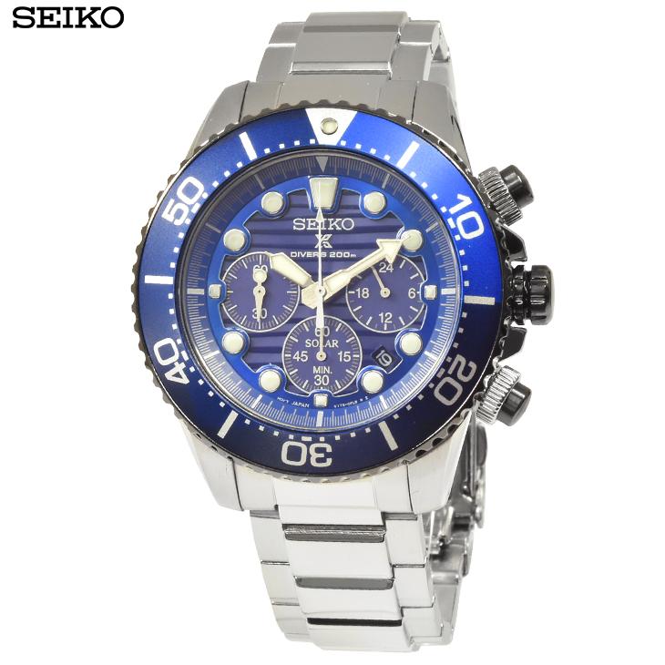 セイコー 腕時計 SSC675P1 プロスペックス クロノグラフ ダイバーズウォッチ ソーラー メンズ腕時計 ブルー×ブルー