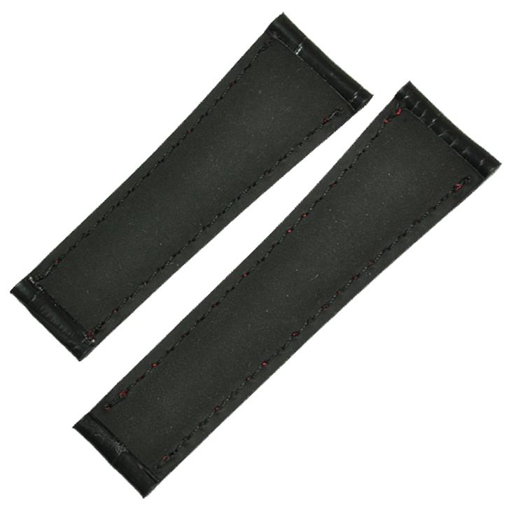 【別注品】 デイトナ革ベルトモデル専用 革ベルト ブラック クロコ マット Mサイズ 黒×赤ステッチ 替ベルト 【クリックポストで】【腕時計】【時計】【デイトナ】【替えベルト】【クロコダイル】【ベルト】